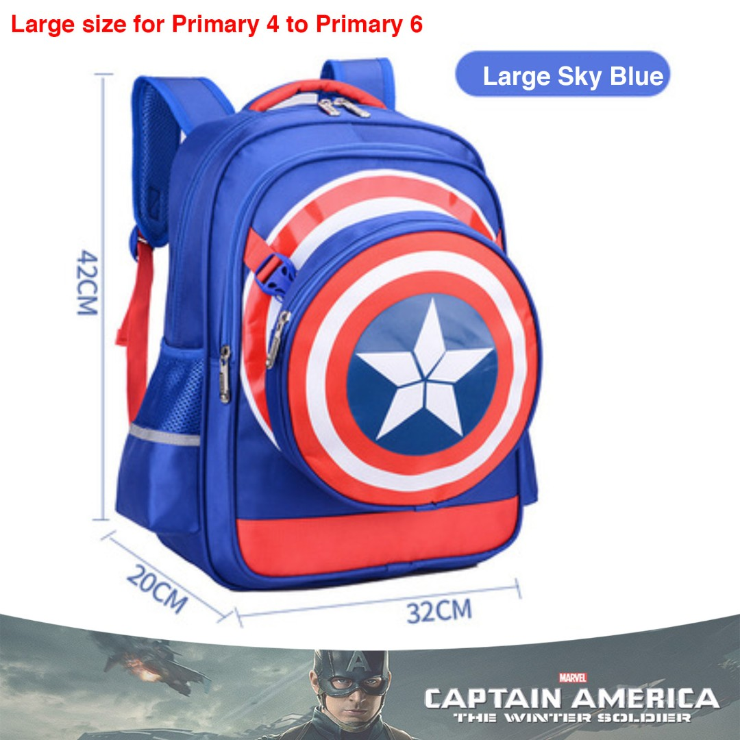 a816dc6c93 School Bag Captain America Blue Black High Quality Nylon Children ...
