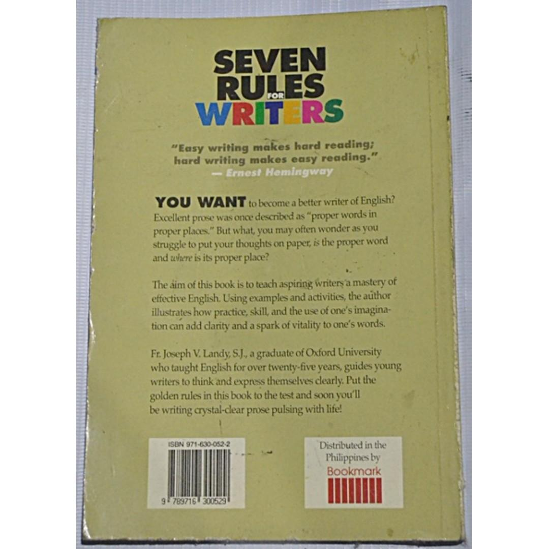 Seven Rules for Writers: for Those Who Aspire for Mastery of Effective English