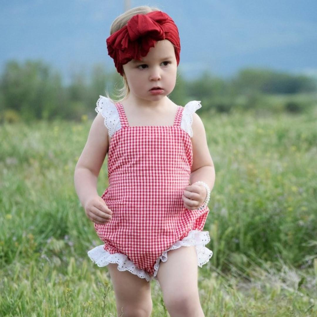 d3317d1437cc ✓️STOCK - WHITE RUFFLES LACE RED GINGHAM OVERALL ONESIE NEWBORN TODDLER  BABY GIRLS KIDS CASUAL ROMPER CHILDREN CLOTHING