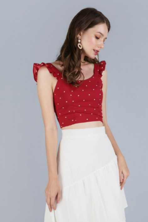 2a785f82ddba0e TTR Davina Ruffles Top in Red Polka Dots, Women's Fashion, Clothes ...