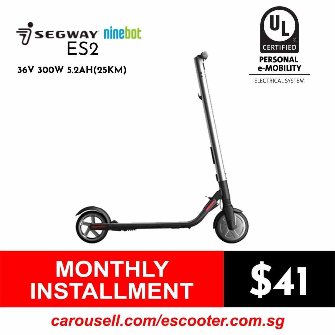 UL2272 Certified Escooter Segway Ninebot ES2 36V 300W 5 2Ah