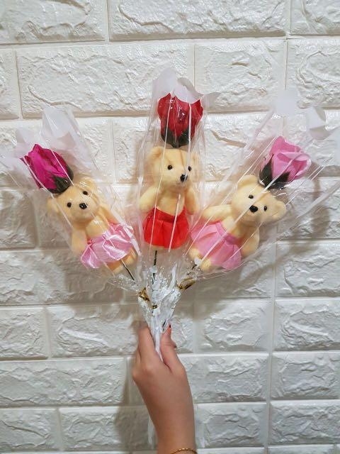 Valentines Day Bear Soap Roses