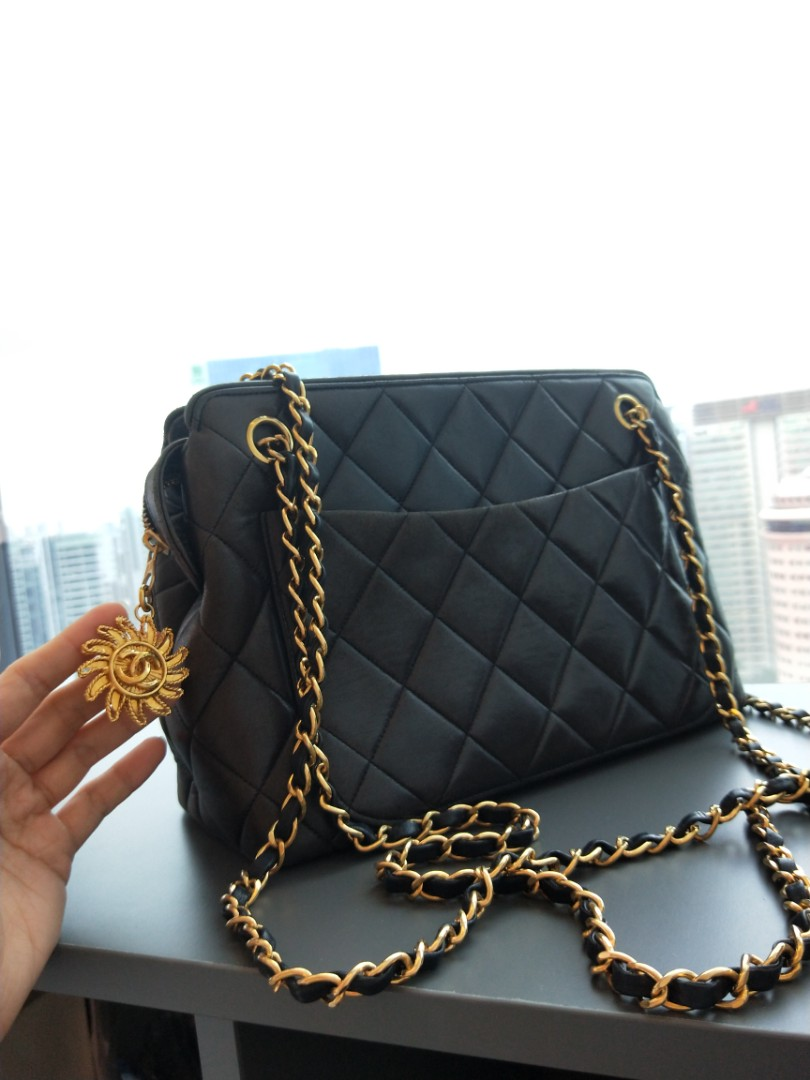be7363022401 Vintage Chanel bag with double gold chains