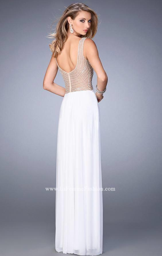 White Evening Prom Dress with crystals and pearls
