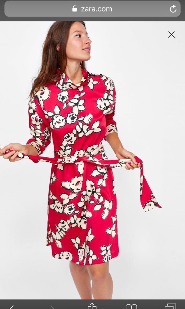 14c55699 Zara red and flower deess, Women's Fashion, Clothes, Dresses ...