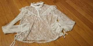 Monki lace top see through 雷絲 上衣 衫 公主