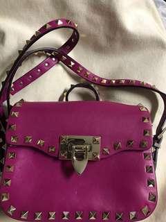 Valentino rockstud leather small shoulder bag 紫紅色鍋釘皮小手袋