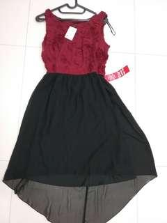 Rose swirl maroon black dress