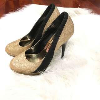 Gold & Black Heels