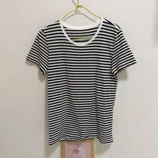 Muji black and white striped t-shirt
