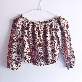 RARE Brandy Melville Red Floral Maura Top