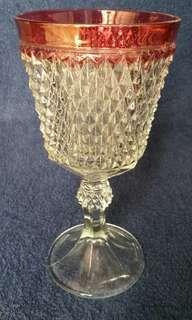 Lidded Crystal Chalice with Red Trim Piala Kristal Lis Merah