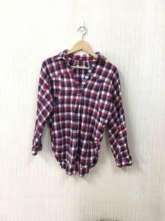 🚚 二手/紅藍白格子長袖襯衫
