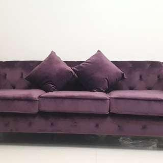 FOR RENT PURPLE TUFTED SOFA