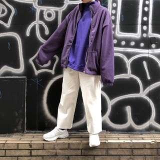 🚚 古著高領刷毛外套(紫)