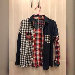 🚚 格子拼接短版長袖襯衫 罩衫