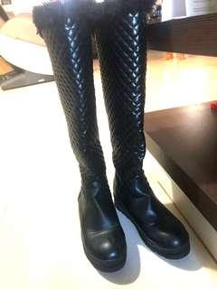 Long Winter Boots with thickening cashmere flat heel and water proof