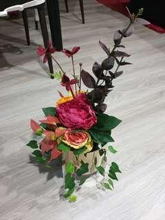 Beautiful brand new artificial flowers with gold pot!