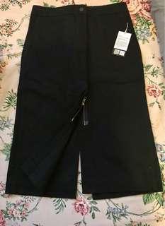 BNWT UNIQLO Cotton Midi Double Zipper Skirt (Black) - Size 2