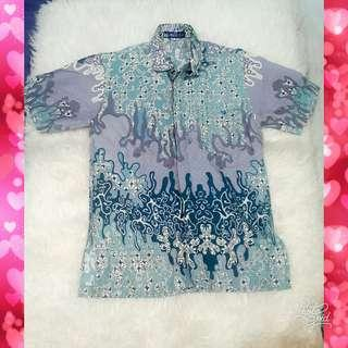 #CNY2019 Light Blue Batik Shirt by Kencana Ungu