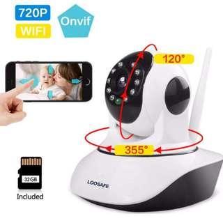 LOOSAFE 720P WiFi Home Security Camera Pan/Tilt Smart Video Baby Monitor Night Vision CCTV IP Cam