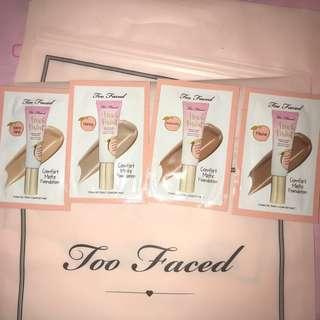 Too faced Peach Perfect Comfort Matte Foundation Medium/Tan samples