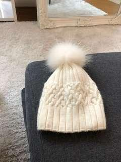 White Wool Hat with Pom Pom