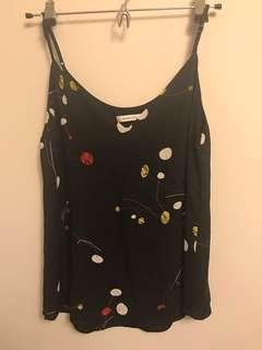 Aritzia Babaton Everly Cami Black With Print Double Layers