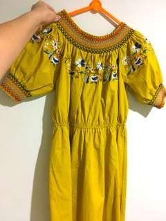 Dress Kuning Brukat