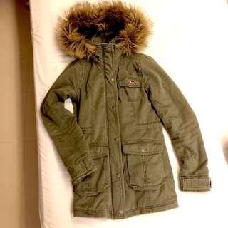 🚚 Hollister 軍綠內刷毛長版外套