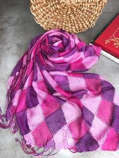 Pink Purple checkered shawl