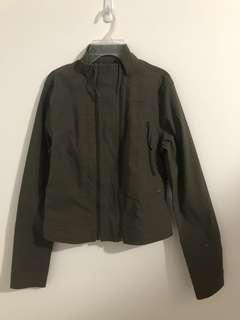 Army green light jacket with zipper