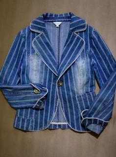 Striped Women's Denim Jacket