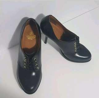 Dr Martens Black Leather Zita Ofira Stilleto Booties Lace Up Pumps Heels Sz 9