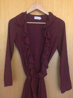 Deep purple wrap dress
