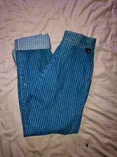 70's High Waisted Striped Jeans