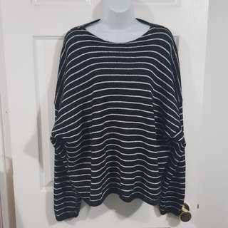 Allsaints Marty Crew Neck Sweater Mohair Black White Stripes Oversized Sz XS/S