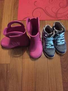 2 Pairs Girl's Shoes - Crocs, GEOX Size 11-12