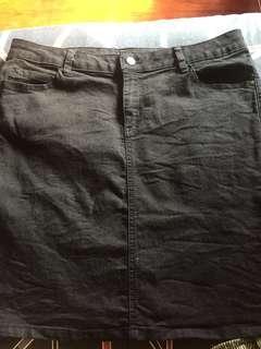 Denim black short skirt