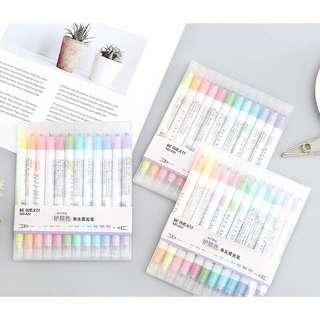 12 Pastel Rainbow Fine & Bold Tip Highlighter Milkliner Pen