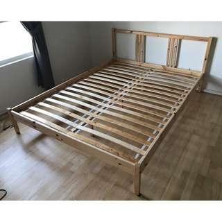 IKEA bedframe (FJELLSE) and Mattress (HAFSLO) Queen Size