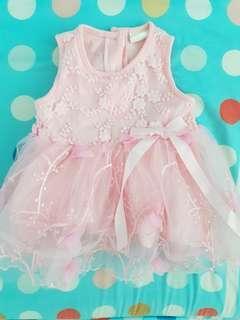 🚚 Baby Pink Frilly Floral Applique TuTu Dress