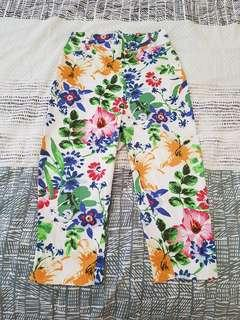 Hola Chica Floral High Waisted Stretchy Cropped Pants