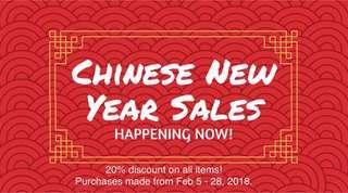 CNY Sale - 20% on all items (Feb5-28)