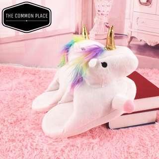 INSTOCK Cute White Unicorn Bedroom Slippers Slip-On