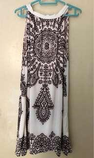 White, brown slinky tribal shift dress