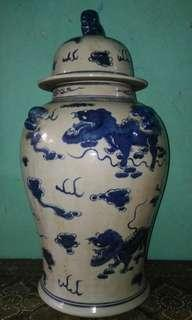 Blue and white jar.
