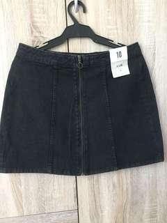 Denim Skirt zip front