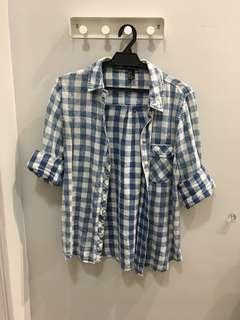 [Forever 21] Blue Checkered Top