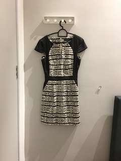 [French Connection] Black & White Striped Dress